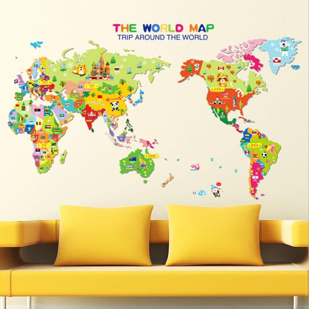 Animal World Map Wall Decal Removable Art Sticker Kids Nursery Room ...