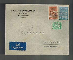 1948 Aleppo Syria Cover to Prostejov Czehcoslovakia Dikran Hovaguimian