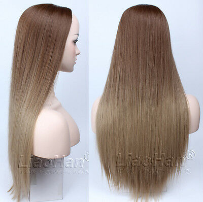 2016 Fashion Straight Long Ombre Brown Wig Two Tone Dip Dye Brown Hair Wigs