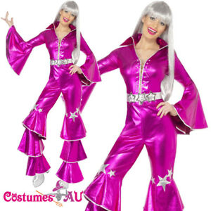 Ladies-Dancing-Queen-60s-70s-Costume-Retro-Hippie-Tribute-Jumpsuit-Fancy-Dress