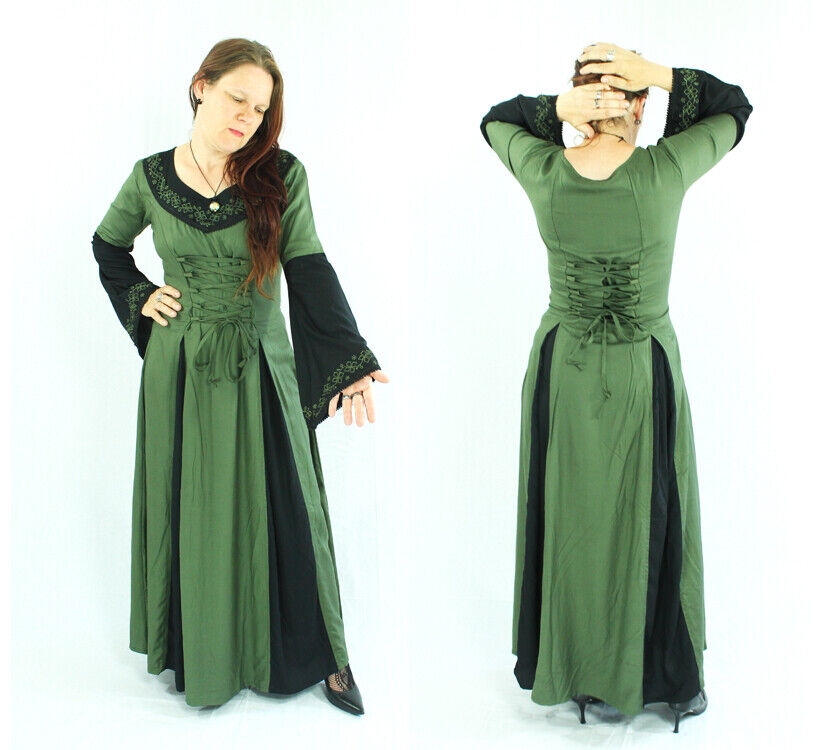 84eb818a475144 Mittelalter-Kleid lang Schnürung Bordüre langarm olive schwarz Gr. S M u. L  XL