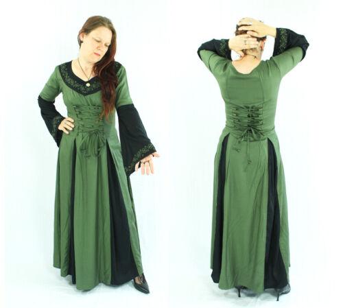 Mittelalter-Kleid lang Schnürung Bordüre langarm bordeaux-schwarz Gr.S//M u L//XL