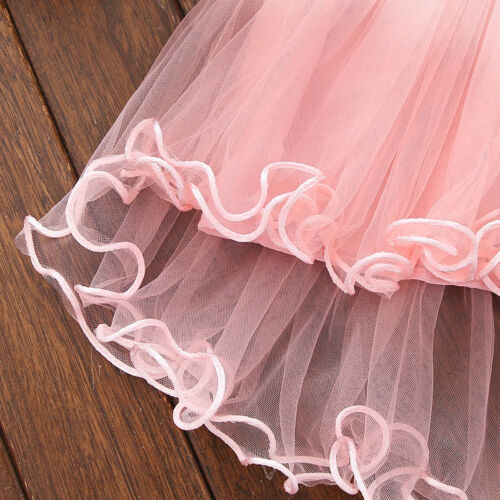 Toddler Kids Baby Girls Floral Sleeveless Dress Princess Party Lace Tutu Dresses