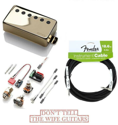 EMG 66 GOLD ACTIVE SOLDERLESS HUMBUCKER PICKUP FREE FENDER 18 FT GUITAR CABLE