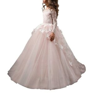 8e7168c4ffec Pink White Ivory Lace Flower Girl Dresses Baby Party Ball Gown with ...