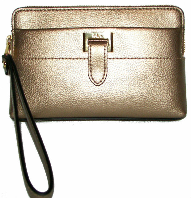 31002916a74 Ralph Lauren Carlisle Gold Leaf Leather Zip-around Mini Clutch Purse  Wristlet N