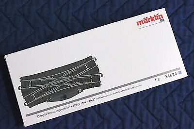 Märklin 24624 C Track Double Slip Switch, with Motor & LED, Ships Fast from US!