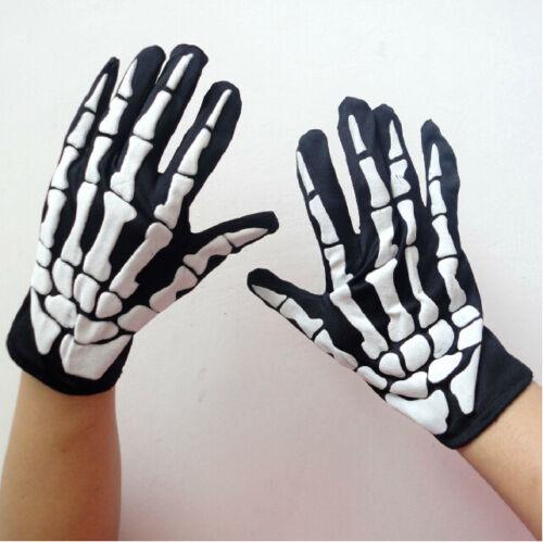 2x Halloween Skelett Handschuhe Knochen Gerippe mit Gratis Geschenk