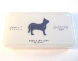 Executive-box-of-30-Midori-D-Clip-Paper-clips-assorted-animals-silver-or-gold