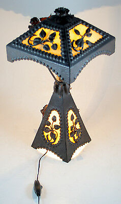 Wrought Iron Table Lamp With Opaline Plaques Collectibles Lamps