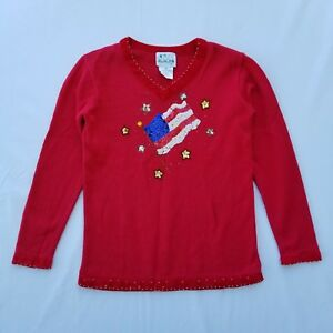 Details about Quacker Factory Women's Sweater Size XS Ramie Sequin USA Flag  Bead