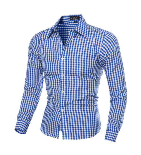 Fashion Mens Plaid Button Down Casual Shirts Summer Plaid Long-sleeved Shirts GW