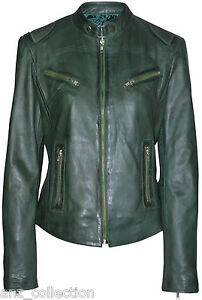 Solo Ladies Dark Green Retro Biker Style Fitted Motorcycle Real
