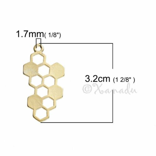 Honeycomb 32mm Wholesale Gold Plated Bee Charm Connector C1379-5 10 20PCs