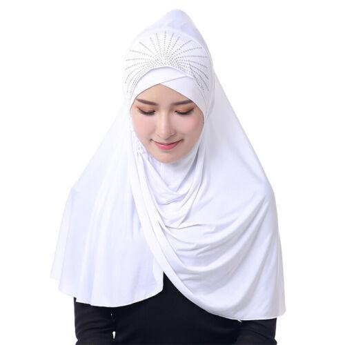 Damen Islam Muslim Schal Halstuch Hijab Khimar Kopftuch Strass Kopfbedeckung Hut