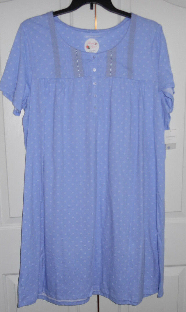 Croft and Barrow Cotton Blend Short Sleeve bluee Bead Dot Print Nightgown 1X NWT