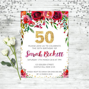 Details About 50TH BIRTHDAY INVITATIONS FIFTY PERSONALISED PARTY SUPPLIES INVITE FLORAL RED