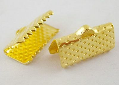 lot 50 attaches ruban pince fermoir griffe embout jaune or bijoux  8x8 mm NEUF