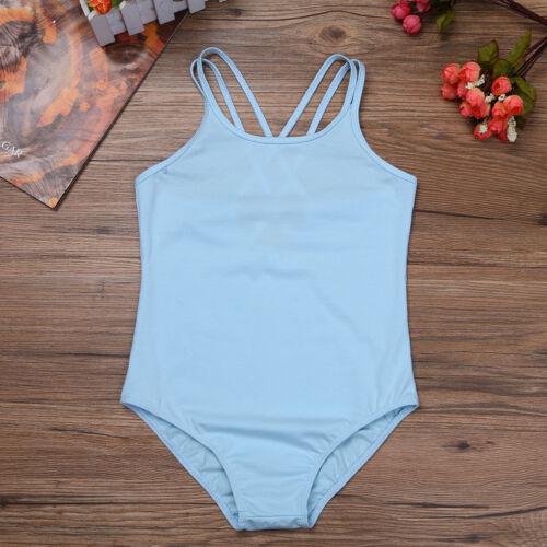 Girls Sleeveless Ballet Gymnastics Leotard Spaghetti Strap Jumpsuit Dancewear