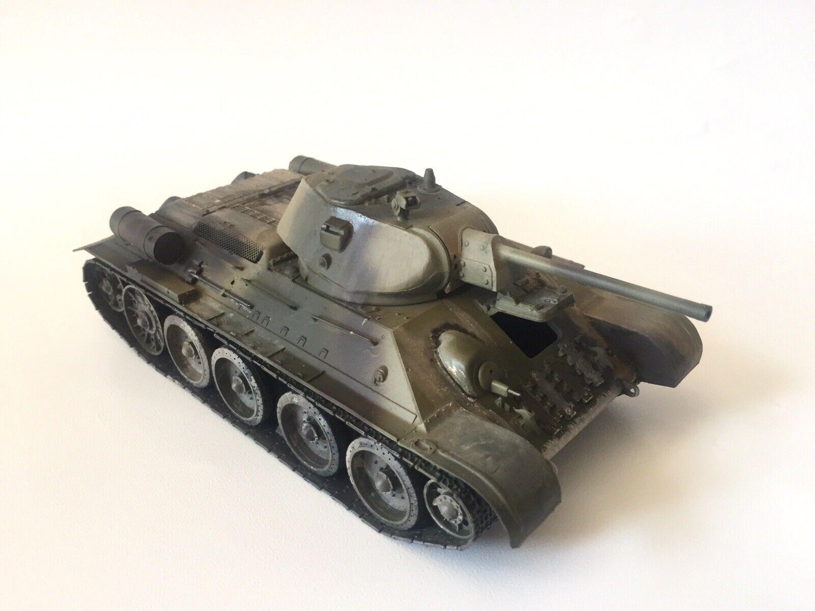 T-34 76  Mod.1940 Russian Tank WWII 1 35 Pro-built, Painted And Weatherouge  70% de réduction