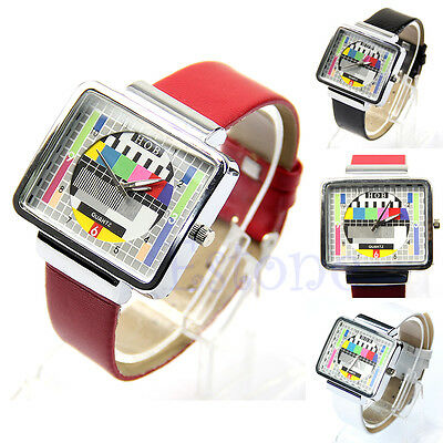 Fashion Unisex TV Test Screen Square Wrist Watch Quartz Leatherette Band Watch