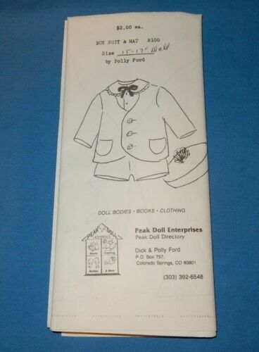 "Boy Suit & Hat fits 15""17"" Doll Vintage Pattern Polly Ford"