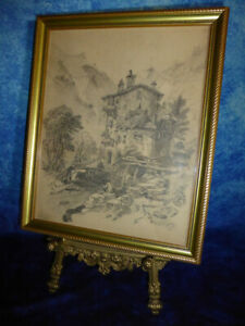Vintage-Pencil-Drawing-MEDIEVAL-HOUSE-IN-MOUNTAINS-European-Bavarian-Art-Picture