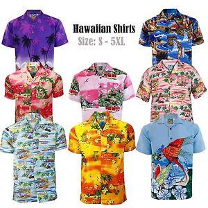 Hombre-True-Face-Disfraz-Hawaiano-Verano-Playa-Estampado-Ajuste-generoso-Camisa