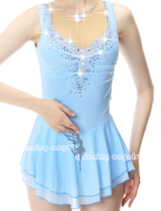 Ice Figure Skating Dress Rhythmic Gymnastics Twirling Competition Costume bluee