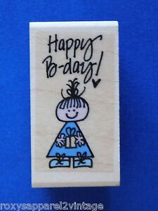 Happy-B-day-Wood-Mounted-Rubber-Stamp-Gently-Used-2-034-x-1-034