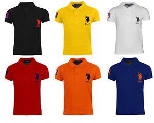 Kids-Boys-US-Polo-Assn-USPA-Children-PE-School-Cotton-Polo-T-Shirt-Top-Age-4-12