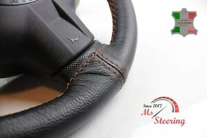 FOR-HOLDEN-COLORADO-RC-08-12-BLACK-LEATHER-STEERING-WHEEL-COVER-COOPER-2-STIT