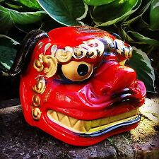 Japanese Ceramic Sake Container In The Form Of Shishi Lion Foo Dog Mask