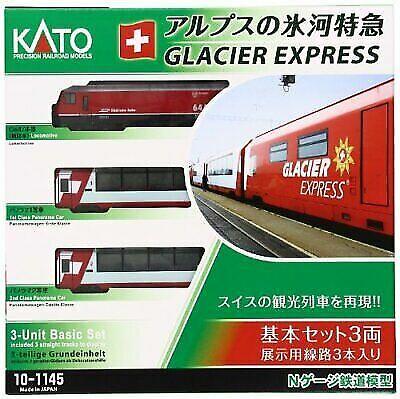 Kato N Calibre Glacier Express 3-Coche Basic alimentado 10-1145 modelo de ferroCocheril