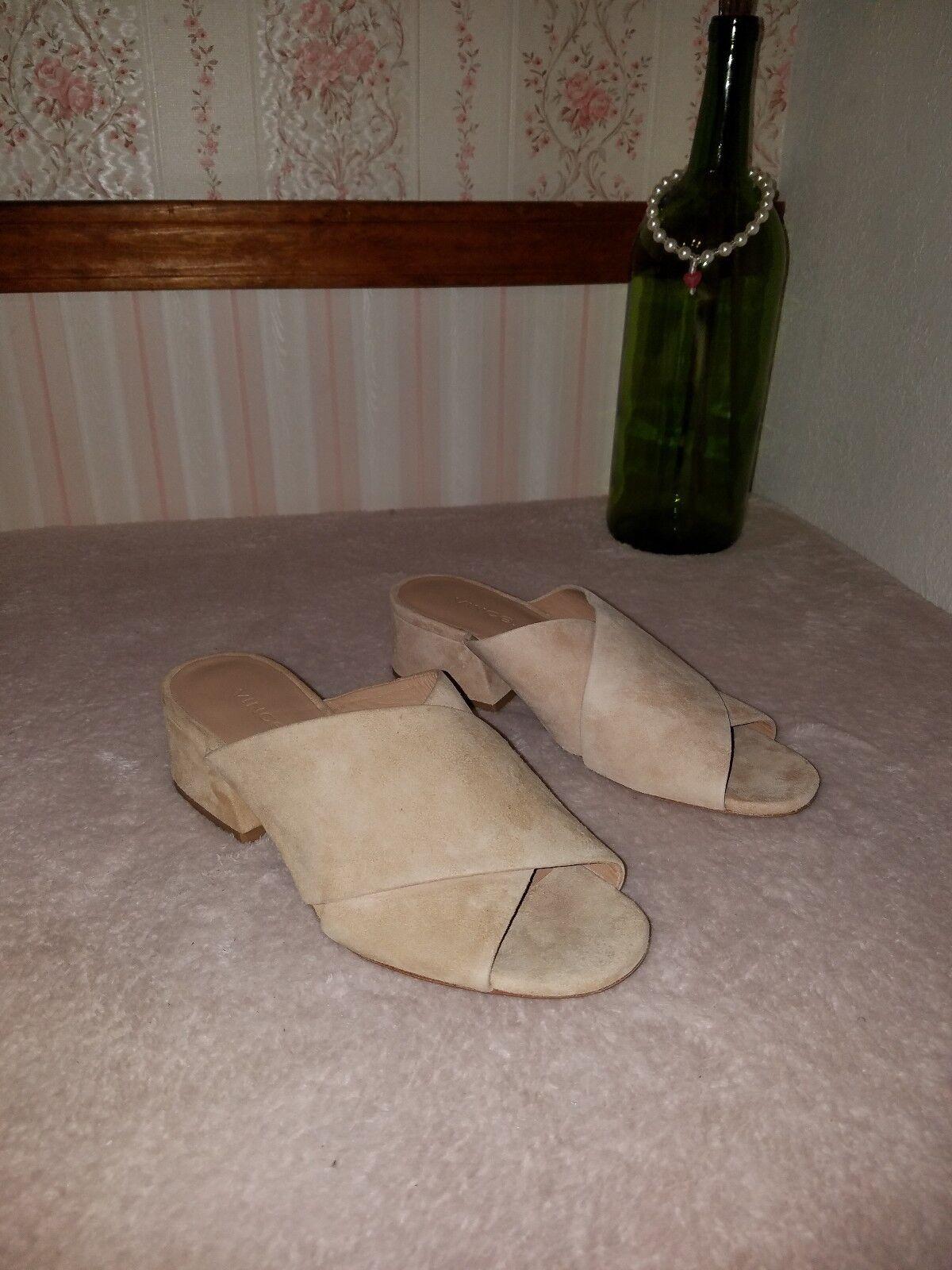 Vince Karsen Open Mule apricot Leather Suede Sandals shoes 6 M beige tan  275