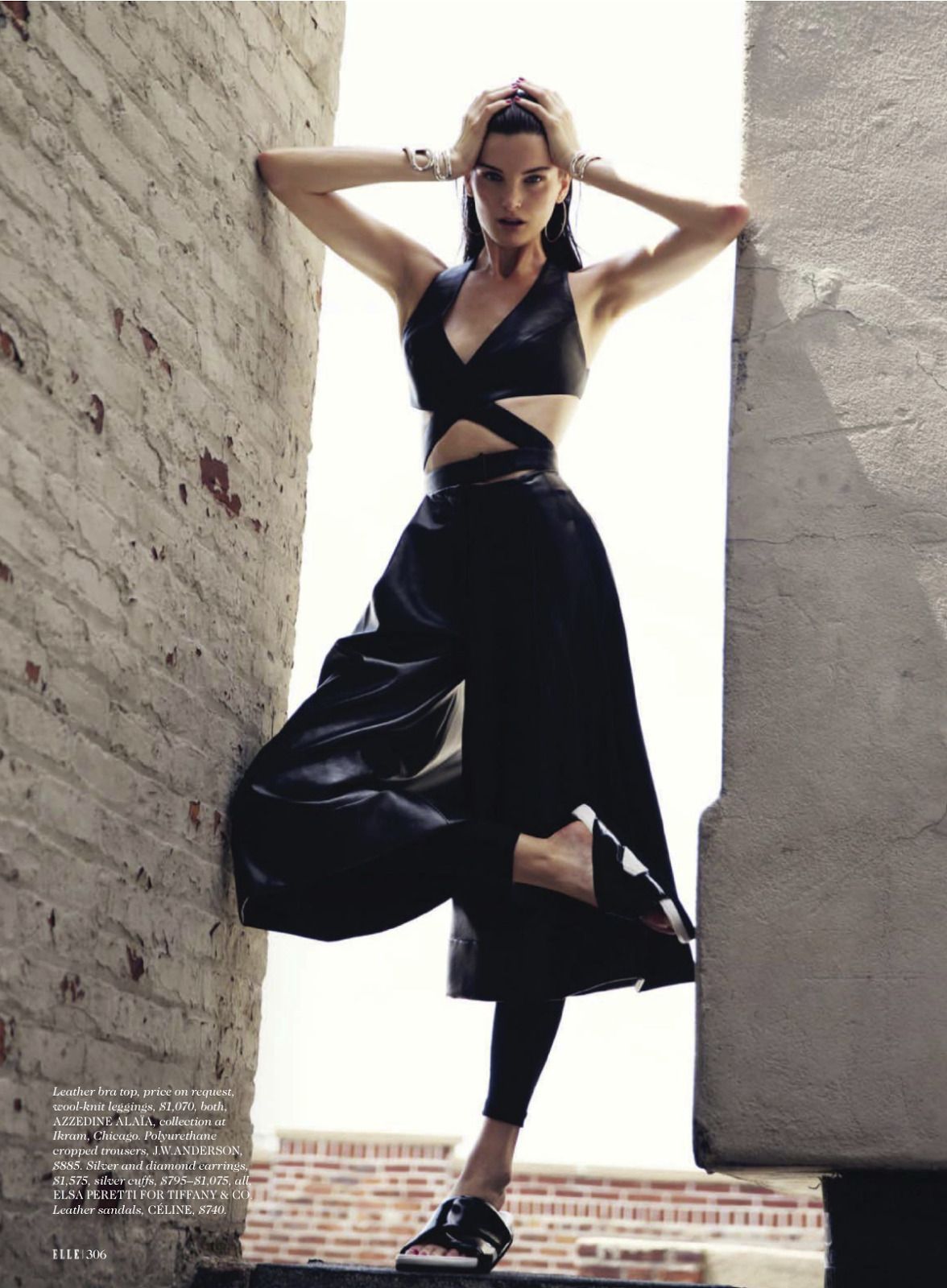 Azzedine Alaia Wrap Leather Cutout Black Top - image 3