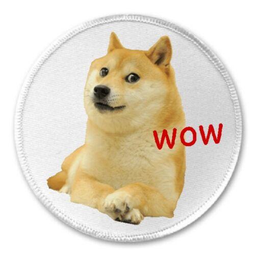 "Shiba Inu Wow Iron On Patch Funny Joke Humor Gift Present 3/"" Sew"