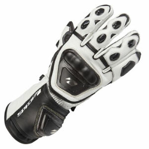 SPADA-CURVE-LEATHER-MOTORCYCLE-GLOVES-RACE-SPORTS-BIKE-WHITE-BLACK
