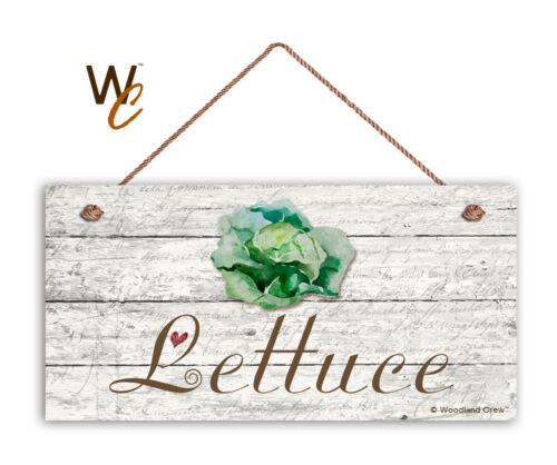 """Kitchen 5/"""" x 10/"""" Wood Vegetable Sign Lettuce Sign Rustic Style Garden Sign"""