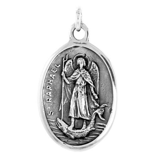 Charm Sterling Silver St Raphael Medal Pendant