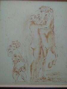 Rare grand dessin signé curiosa Dayelle de Terronblan nymphe et centaure