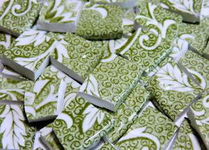 China Mosaic Tiles Antique English Mossy Green Vintage Broken