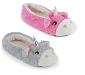 42897b3e73a1eb Details about Womens Unicorn Slippers Girls Novelty Ballerina Ladies Bally  Pink Grey UK Size