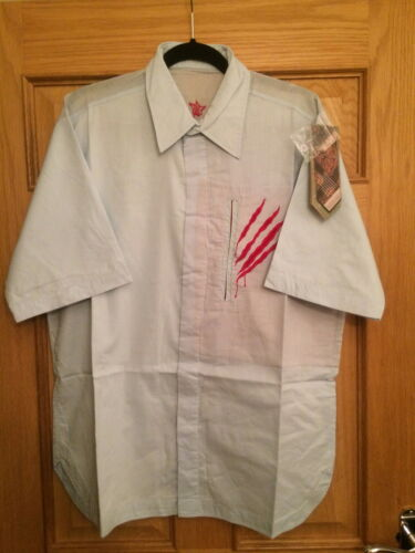 MAHARISHI MENS SKY BLUE S//S SHIRT WITH SSUR SCRATCHES EMBROIDERY!!!