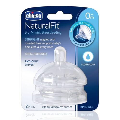 Straight Slow Flow BPA-free 2 Nipples SATIN Texture Chicco NaturalFit Nipple 0M