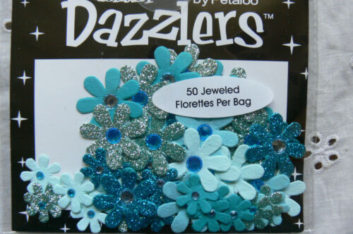 5 Tones of TEAL Plain /& Sparkle 15-25mm Petaloo 50 Jewelled Florettes DAZZLERS