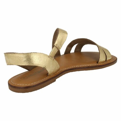 F0R936 LEATHER COLLECTION LADIES OPEN TOE SLINGBACK FLAT CASUAL SUMMER SANDALS