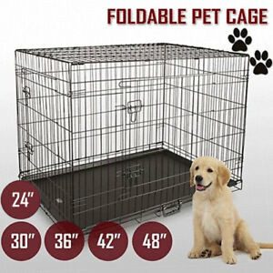 Collapsible-Pet-Dog-Cage-Wire-Metal-Crate-Kennel-Portable-Puppy-Cat-Rabbit-House