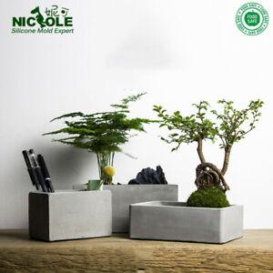 Silicone-Mold-Concrete-Flower-Pot-Rectangular-Planter-Cement-Plate-Mould-DIY