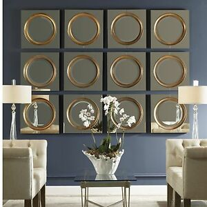 12 urban modern antiqued outer mirror center frame wall art mirrors